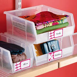 Closet shelf tote bins
