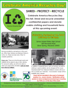 America Recycles Day Shred Day Montgomery County Silver Spring Md